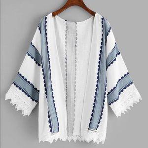 Lace Trim printed Kimono Small